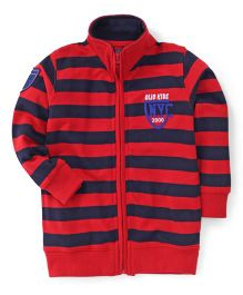 Olio Kids Full Sleeves Striped Sweat Jacket With Fleece Lining - Red