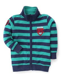 Olio Kids Full Sleeves Striped Sweat Jacket With Fleece Lining - Green