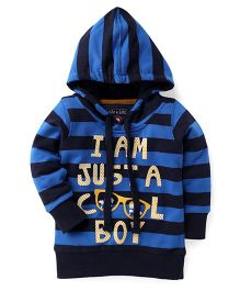 Olio Kids Full Sleeves Hooded Sweat Jacket Cool Print - Blue