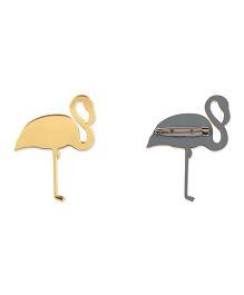 Kaam Dekho Naam Nahi Flamingo Brooch - Gold