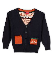 Lilliput Kids Full Sleeves Cardigan With Assymetric Twin Pockets - Midnight Blue