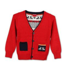 Lilliput Kids Full Sleeves Cardigan With Assymetric Twin Pockets - Red