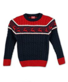 Lilliput Kids Full Sleeves Darting Deer Textured Sweater - Navy & Red