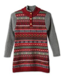 Lilliput Kids Full Sleeves Eclectic Pattern Tunic - Grey