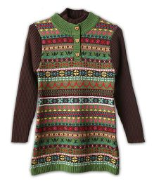 Lilliput Kids Full Sleeves Eclectic Pattern Tunic - Brown