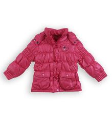 Lilliput Kids Party Wear Full Sleeves Hooded Jacket - Pink
