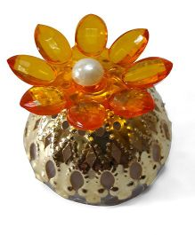 Sugarcart Crystal Flower Diya & Colour Changing Lights - Orange