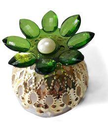 Sugarcart Crystal Flower Diya & Colour Changing Lights - Green