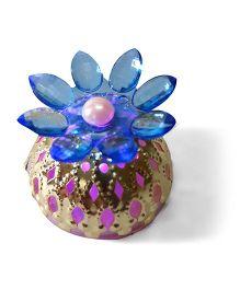 Sugarcart Crystal Flower Diya & Colour Changing Lights - Blue