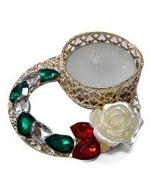 Sugarcart Sequence Of Stones With Candle Tealight Diya - Green & Golden