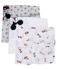 Fox Baby Muslin Wrapper Mickey Mouse Print Pack Of 3 - White