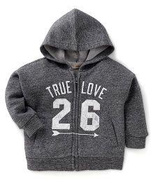 Fox Baby Full Sleeves Hooded Sweatjacket True Love 26 Print - Dark Grey