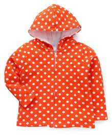 Babyhug Full Sleeves Hooded Sweatjacket With Dot Print - Orange