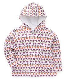 Babyhug Full Sleeves Hooded Sweatjacket With Heart And Floral Print - Off White