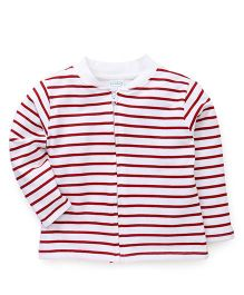Babyhug Full Sleeves Striped Sweatjacket - Red & White