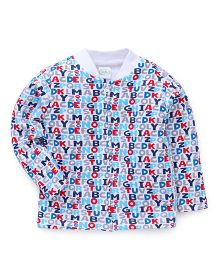 Babyhug Full Sleeves Alphabet Print Sweatjacket - Multi Color & White