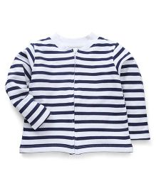 Babyhug Full Sleeves Striped Sweatjacket - Navy & White