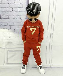 Aww Hunnie 7 No Boys Autumn Winter Track Suit - Red