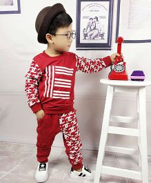 Pre Order - Aww Hunnie Printed Boys Autumn Winter Track Suit - Red