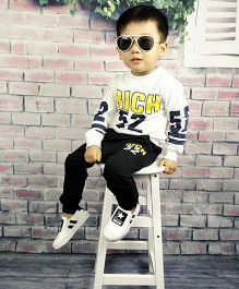 Pre Order - Aww Hunnie Rich Baby Boys Autumn Winter Track Suit - White