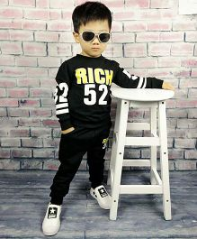 Pre Order - Aww Hunnie Rich Baby Boys Autumn Winter Track Suit - Black