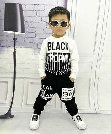 Pre Order - Aww Hunnie Lines Boys Autumn Winter Track Suit - Black