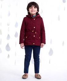 One Friday Long Jacket With Furr - Burgundy