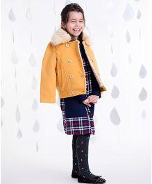 One Friday Girls Furr Jacket With Pocket - Mustard Orange