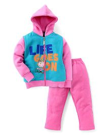 Valentine Full Sleeves Hooded Sweatjacket And Pajama - Blue Pink