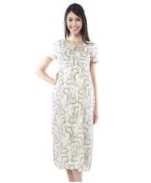 Nine Short Sleeves Printed Maternity Dress - White