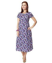 Nine Short Sleeves Maternity Nursing Dress Floral Print - Purple