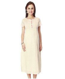 Nine Short Sleeves Hearts Print Maternity Nursing Dress - Off White