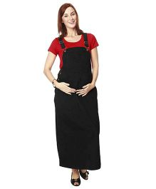 Nine Full Length Maternity Pinafore Dress - Black