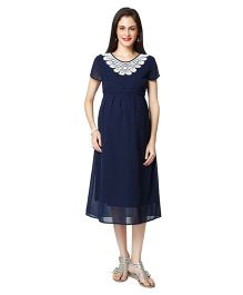 Nine Short Sleeves Maternity Dress - Navy Blue