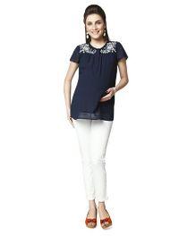 Nine Short Sleeves Maternity Blouse - Navy Blue