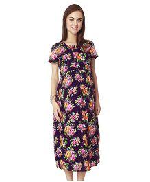 Nine Short Sleeves Maternity Nursing Dress Floral Print - Blue & Pink