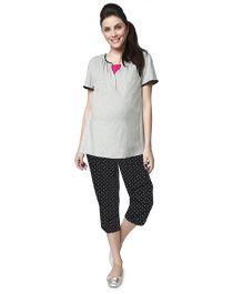 Nine Maternity Pyjama Set - Grey Melange