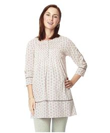 Nine Maternity Tunic In Geometrical Print With Pleat Details - White