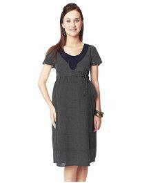 Nine Short Sleeves Checks Maternity Dress - Navy
