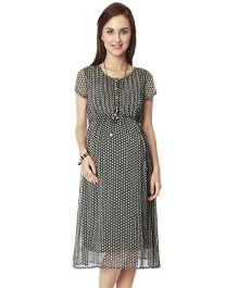 Nine Short Sleeves Printed Maternity Dress - Black