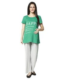 Nine Maternity Printed T-Shirt And Pyjama Set - Green