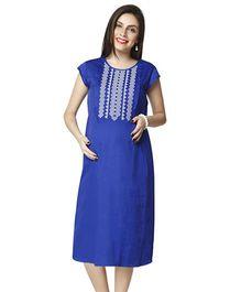 Nine Cap Sleeves Maternity Dress - Blue