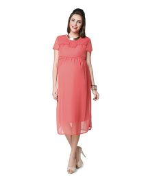 Nine Short Sleeves Maternity Dress - Coral