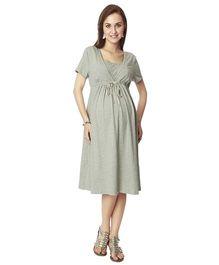 Nine Short Sleeves Maternity Basic Nursing Dress - Grey