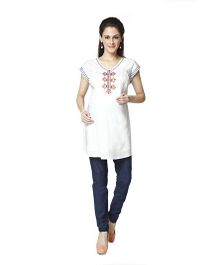 Nine Short Sleeves Embroidered Maternity Tunic - White
