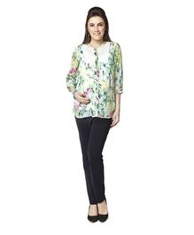 Nine Tropical Print Maternity Shirt - Multicolor