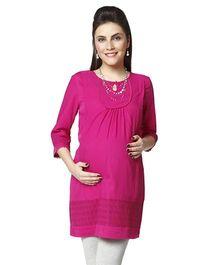 Nine Long Sleeves Maternity Tunic - Fuchsia
