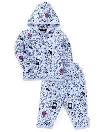 Ollypop Hooded T-Shirt And Legging Multiprint - Light Blue