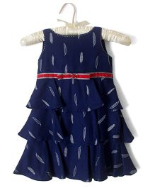 Nitallys Feather Print Dress - Blue