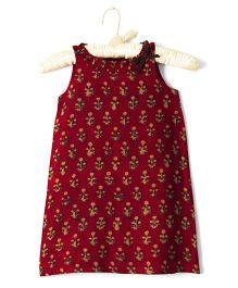 Nitallys Ruffled Neck Dress - Red